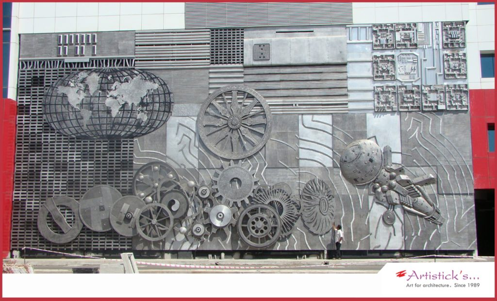 Srm gateway chennai wall mural project by Artisticks